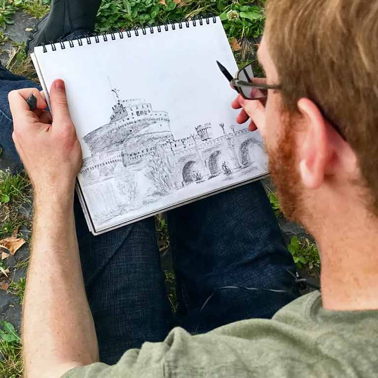 Architecture student draws ancient buildings of Rome, while in Rome